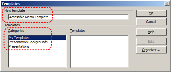 Image demonstrates location of New template name box and Categories list in Templates dialog.