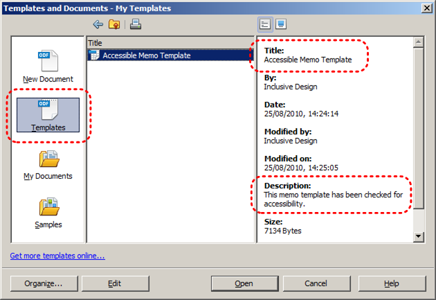 Image demonstrates location of Templates icon, Title and Description sections in My Templates dialog.