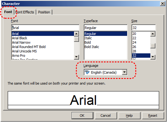 Image demonstrates location of Font tab and Language option in Character dialog.