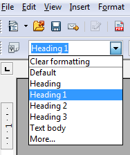 Image demonstrates location of Heading drop-down menu in Formatting toolbar.