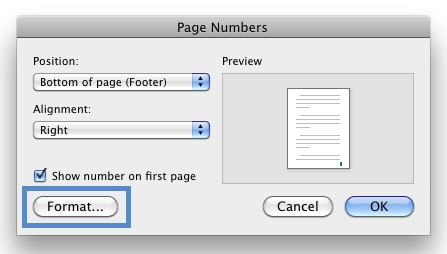 "Image locates the format button on ""Page Numbers"" box."