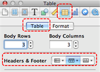Image demonstrates location of Table inspector, Table tab, and Headers & Footer section in the Inspector dialog.