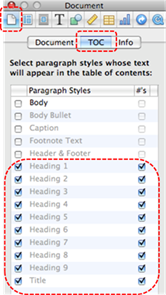 Image demonstrates location of Document button, TOC tab, and list of paragraph styles in the Inspector dialog.