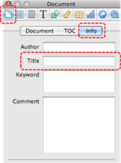 Image demonstrates location of Document button, Info tab, and Title box in the Inspector dialog.