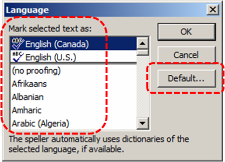 Image demonstrates location of language list and Default... button in Language dialog.