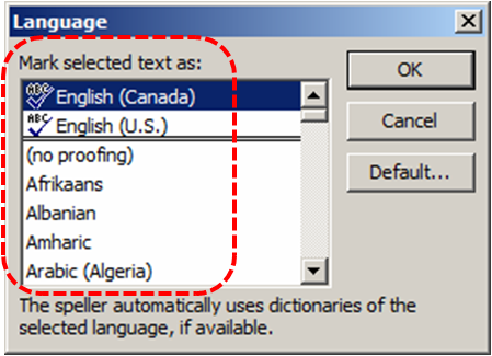 Image demonstrates location of language list in the Language dialog.