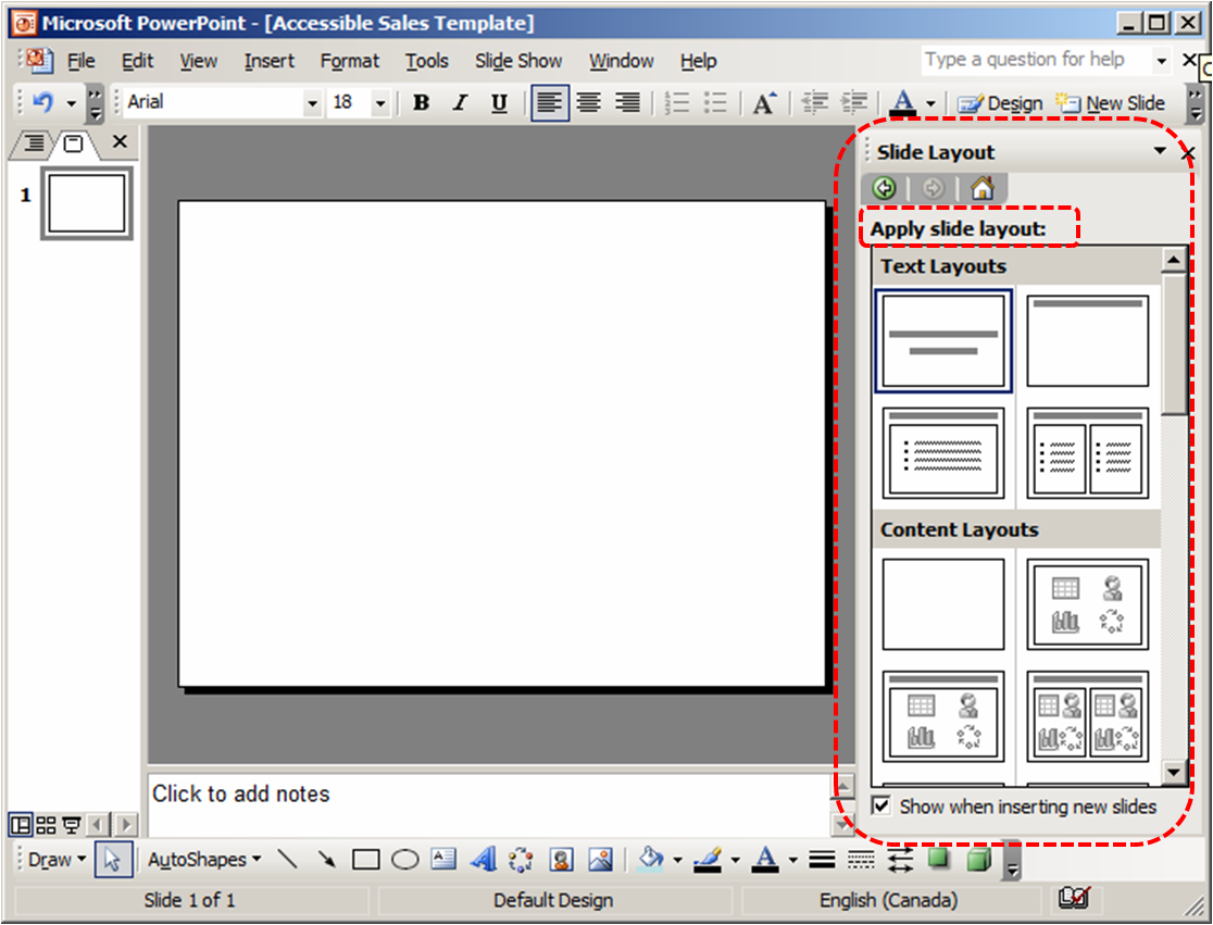 Image demonstrates location of Apply slide layout gallery in the Slide Layout section.
