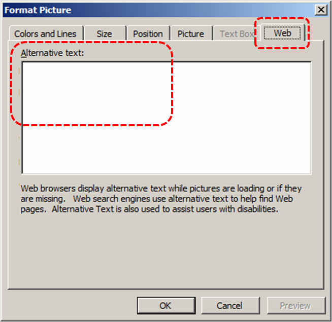 Image demonstrates location of Web tab and Alternative text box in the Format Picture dialog.