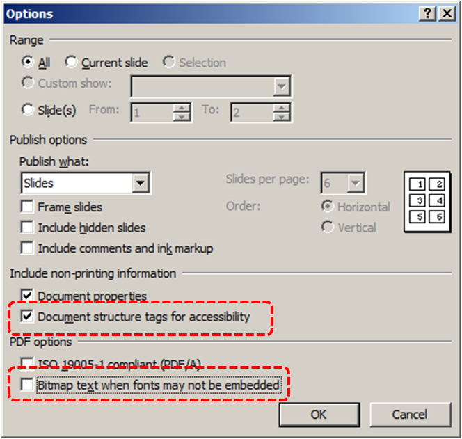Image demonstrates location of Document structure tags for accessibility option and Bitmap text when fonts may not be embedded option in the Options dialog.