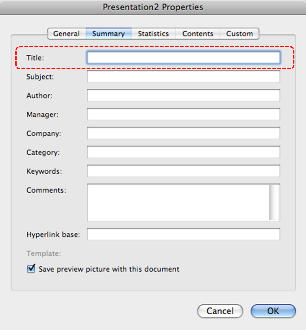 Image demonstrates location of Title box in Presentation Properties dialog.