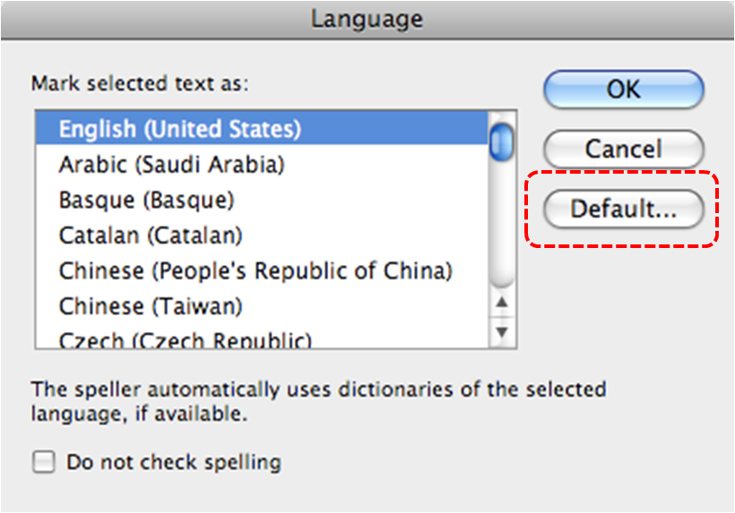 Powerpoint 2008 for mac accessible digital office document adod image demonstrates location of default button in the language dialog toneelgroepblik Choice Image
