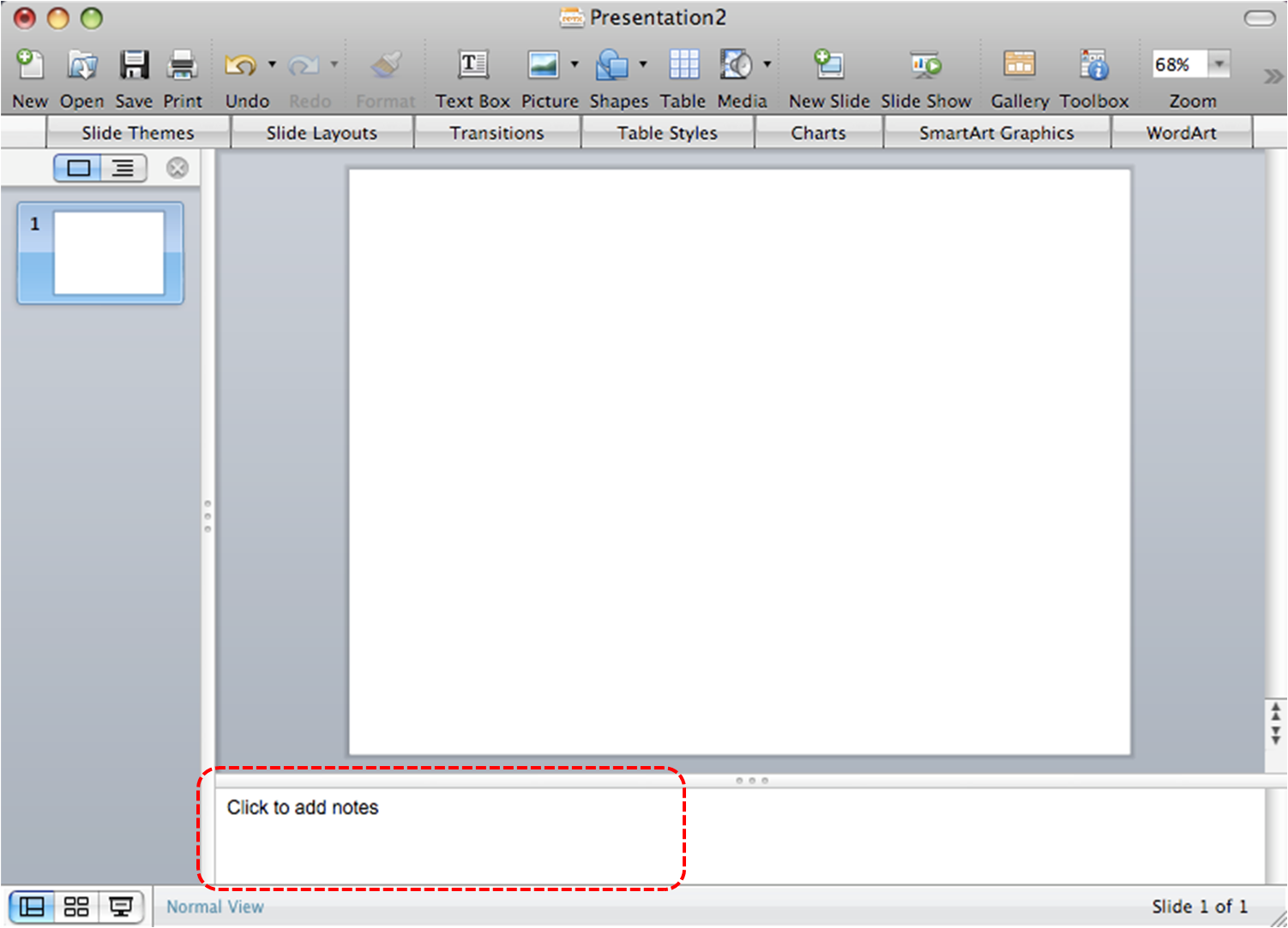 Image demonstrates location of Notes Pane in the normal view.