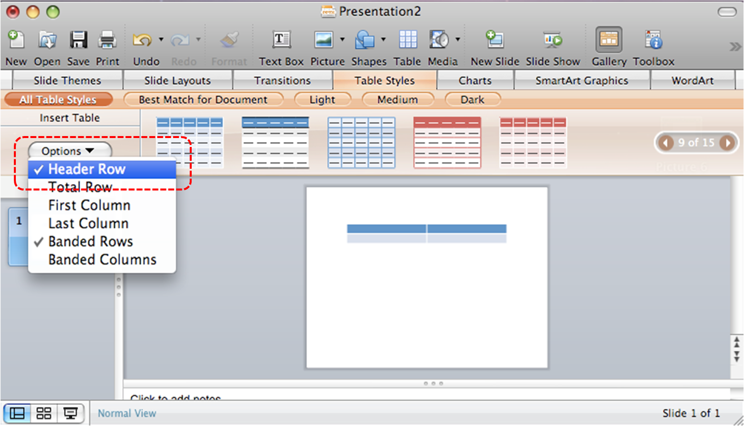 Image demonstrates location of Header Row Option in Table Styles section above document pane.