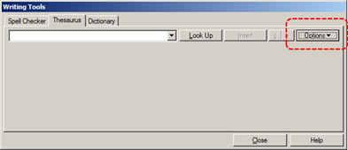 Image demonstrates location of Options button in Writing Tools dialog.
