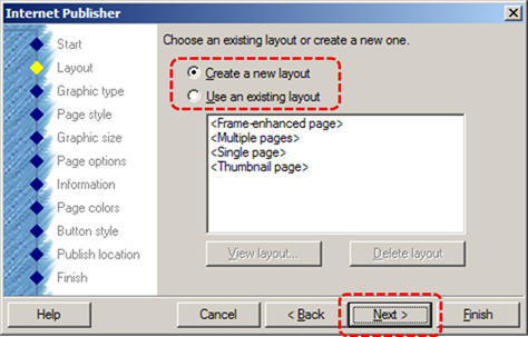 Image demonstrates location of Create a new layout or Use an existing layout options and Next button in Internet Publisher wizard.