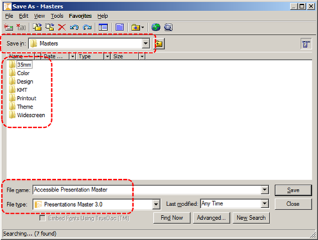 Image demonstrates location of Save in option, File name box, and File type optoin in Save As dialog.
