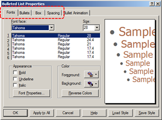 Image demonstrates location of tabs in Bullet List Properties dialog.