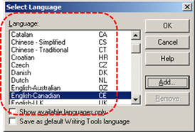 Image demonstrates location of Language list in Select Language dialog.