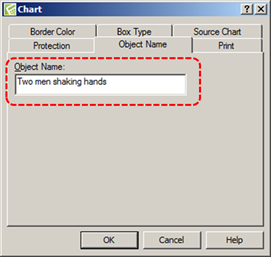 Image demonstrates location of Object Name box in Chart dialog.