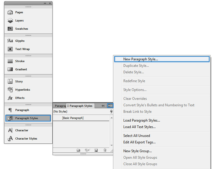 "Image demonstrates the location of ""new paragraph style"" dialog box."