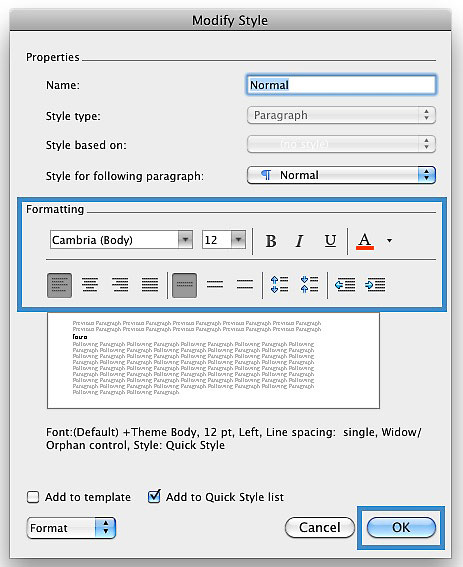"Image demonstrates the changes that can occur in the ""Modify Style"" dialog box."