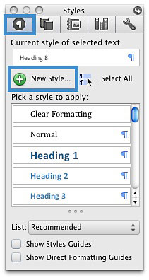 Image locates the New Style button on the Styles box.