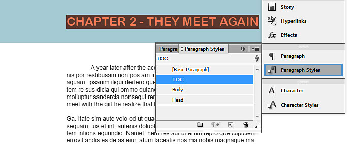 "Image demonstrates the changes that should be made to create the ""table of contents"" contents."