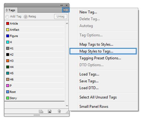 "Image demonstrates where the ""Map Style to Tags"" is located in the Tags pane."