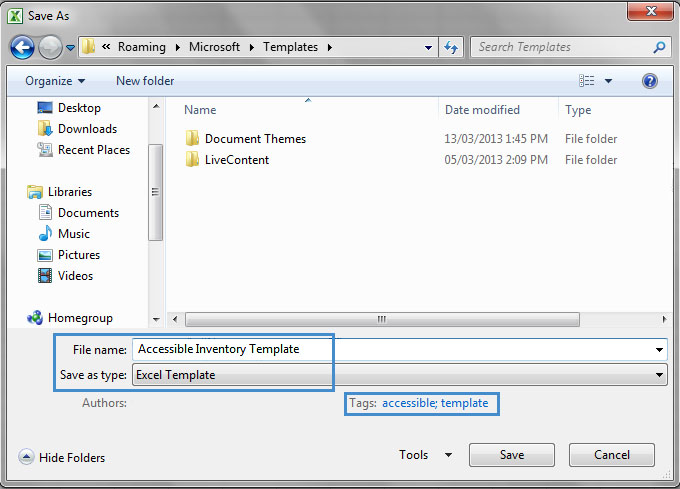 Image demonstrates location of File name box, Save as type option and Tags box in the Save As dialog.