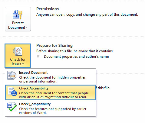 Image demonstrates location of Check Accessibility option in Check for Issues drop-down menu.