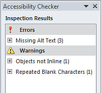 Image demonstrates inspection results in Accessibility  Checker task pane.