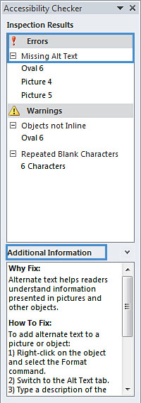Image demonstrates additional information for inspection results in Accessibility Checker pane.