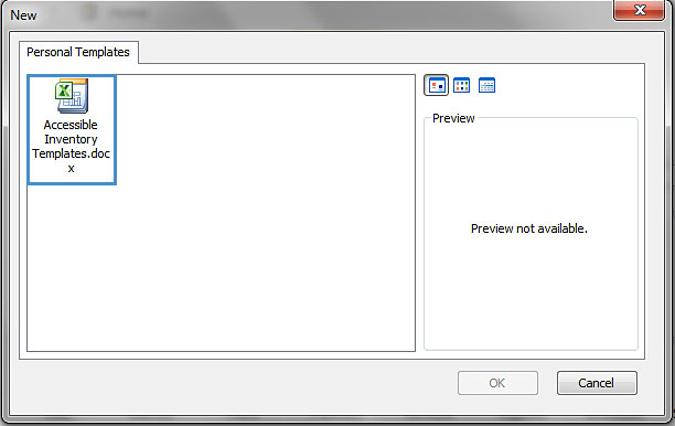 Image demonstrates location of template icons in Personal Templates section of the New dialog.