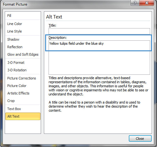Image demonstrate location of Title box and Description box in Format Picture dialog.