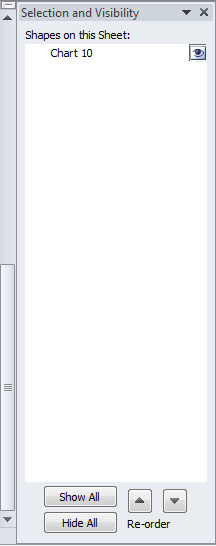 Image demonstrates the selection and visibility panel.