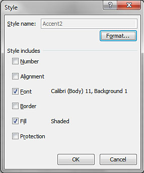 Image demonstrates location of Format button in Style dialog.