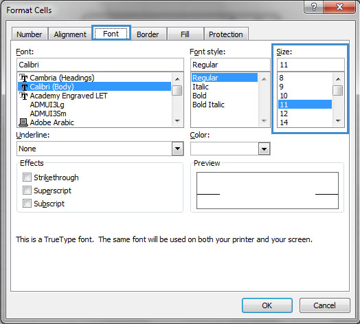Image demonstrates location of Font tab and Size option in Format Cells dialog.