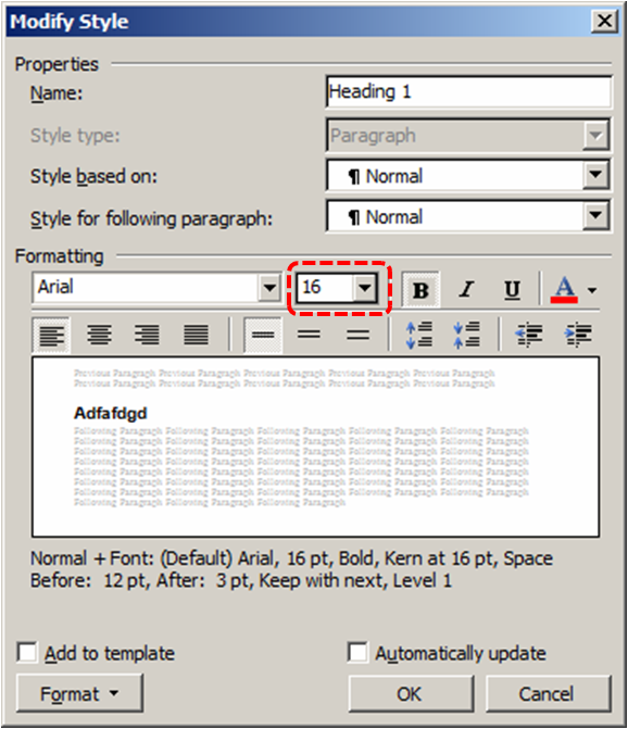 Image demonstrates location of font size option in the Modify Style dialog.