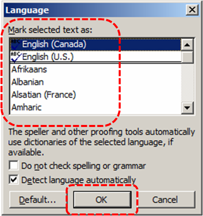 Image demonstrates location of Mark selected text as list and OK option in the Language dialog.