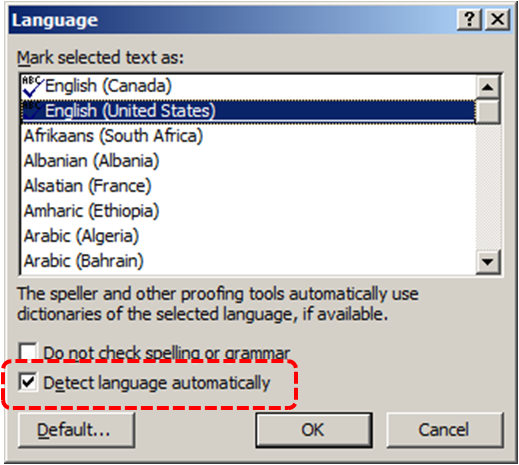 Image demonstrates location of the Detect language automatically check box in the Language dialog.