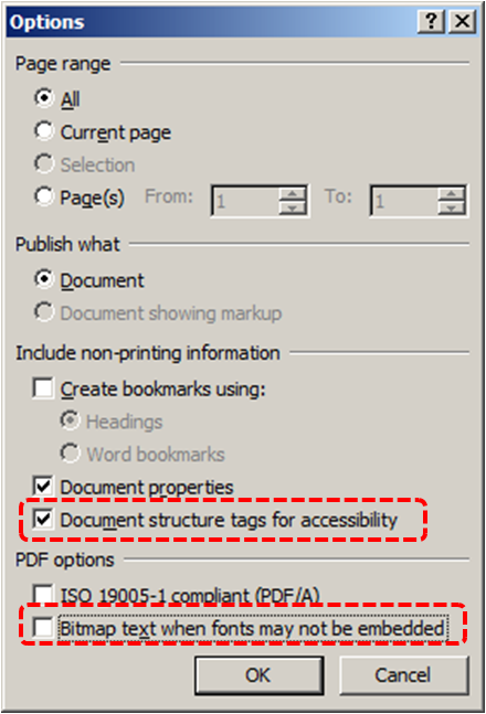 Image demonstrates location of Document structure tags for accessibility option and Bitmap text when fonts may not be embedded option in Options dialog.