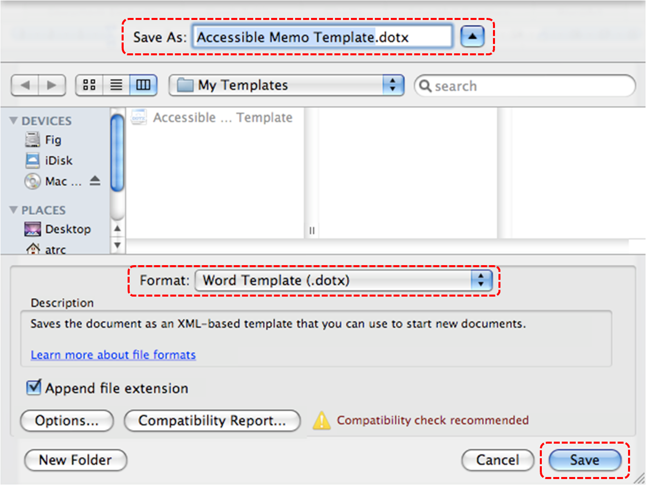 Image demonstrates location of Save As box, Format drop-down list and Save button in Save As dialog.