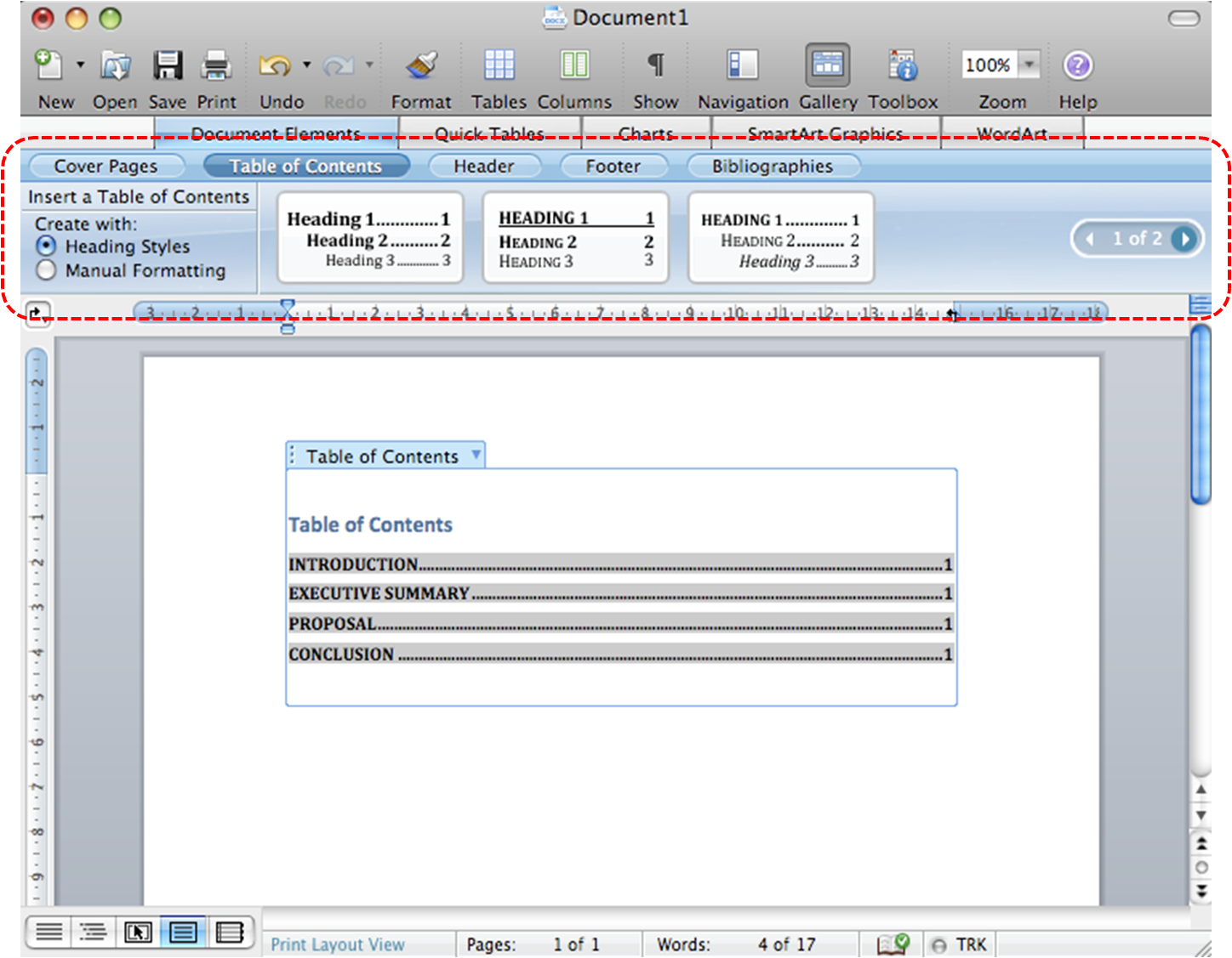 Image demonstrates location of Table of Contents section above the document pane in the application window.