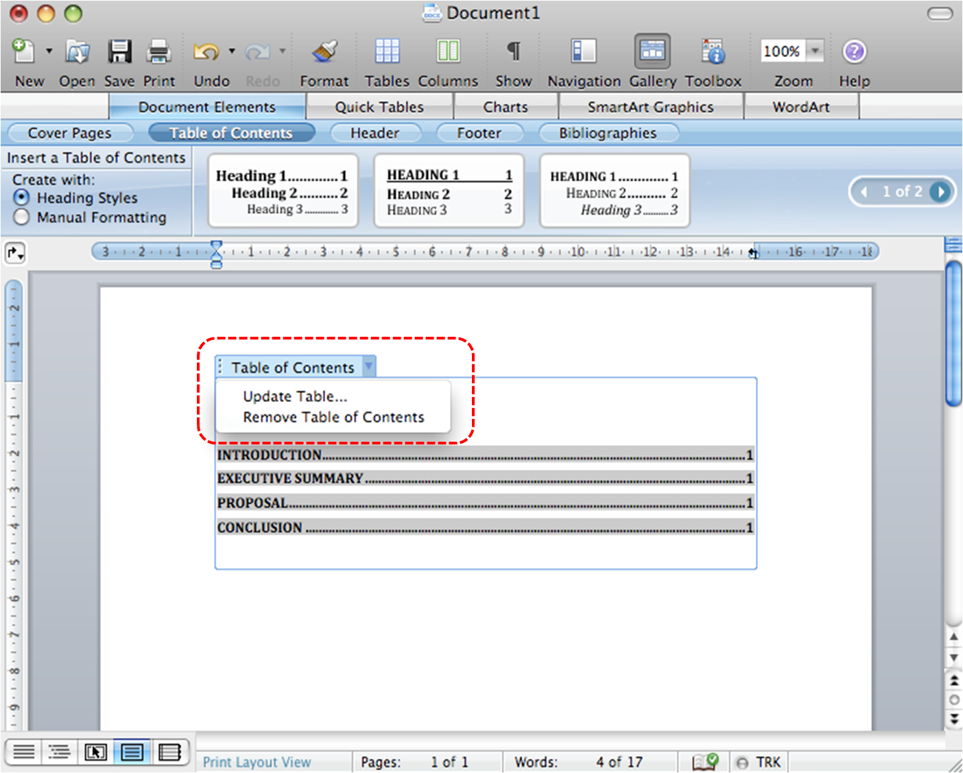 Image demonstrates Table of Contents menu as a result of selecting the icon beside Table of Contents.