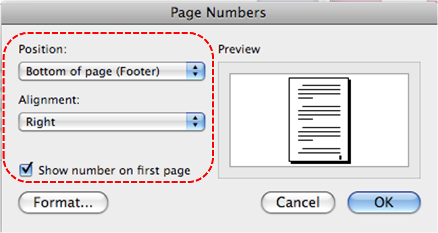 Image demonstrates location of page number charactertistics options in Page Numbers dialog.