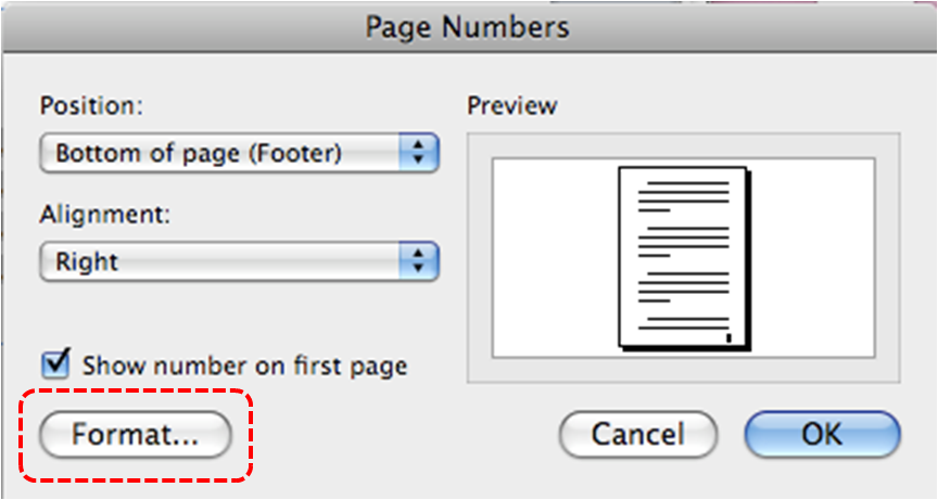 Image demonstrates location of Format... button in Page Numbers dialog.