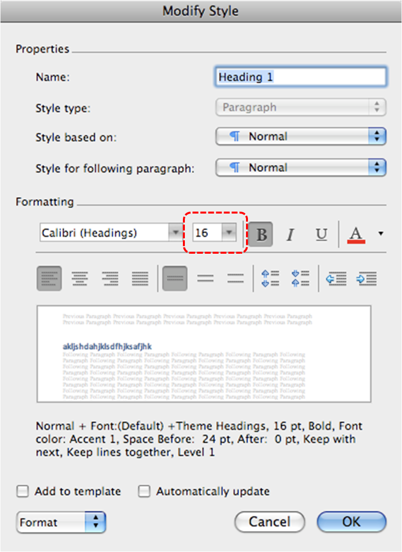 Image demonstrates location of size option in Formatting section of Modify Style dialog.