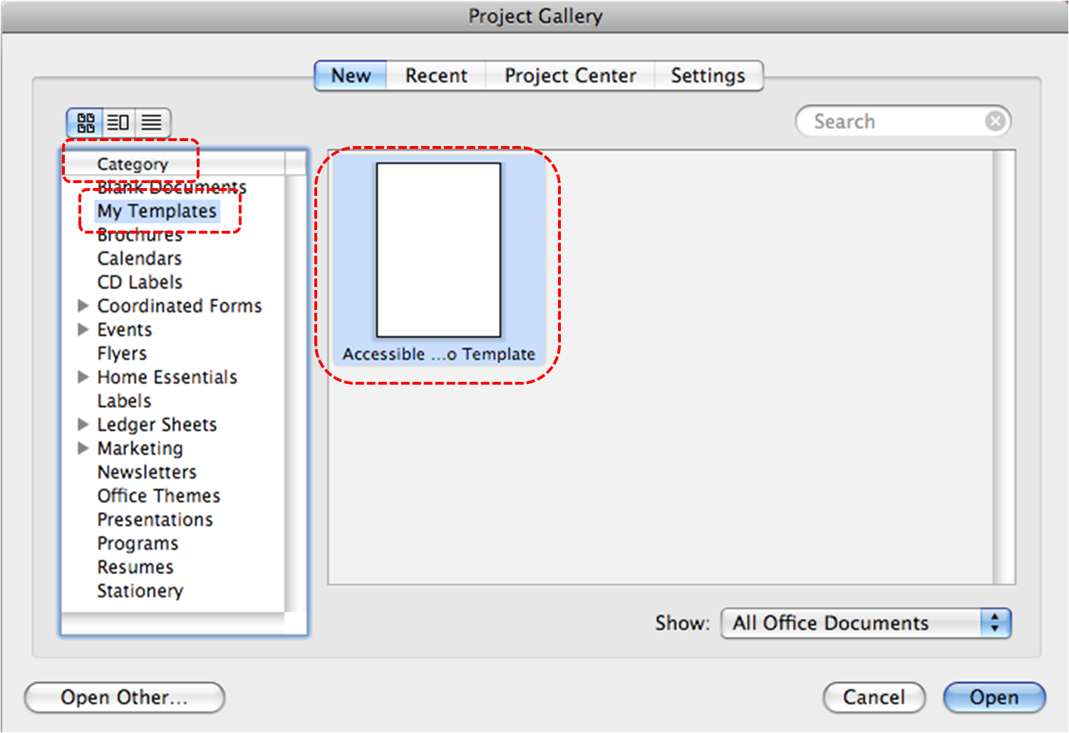 Image Demonstrates Location Of My Templates In Category Section And An  Accessible Template In The Scrolling