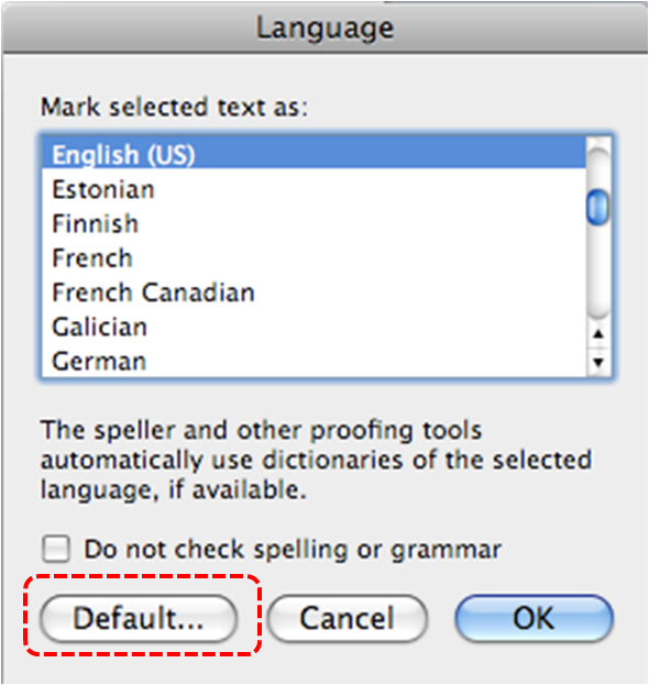 Image demonstrates location of Default... button in Language dialog.