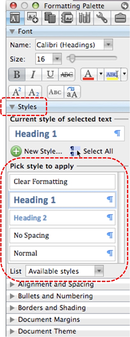 Image demonstrates location of Styles section and headings list under Pick style to apply in the Formatting Palette.